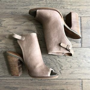 Lucky Brand leather open toe booties, Sz 5,